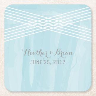 Blue Watercolor Deco Wedding Square Paper Coaster