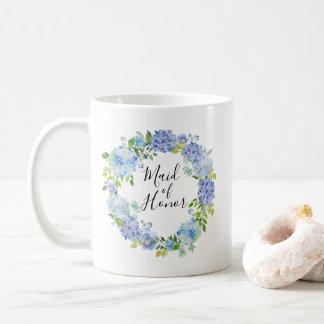 Blue Watercolor Floral Maid of Honour Coffee Mug