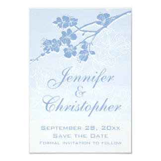 Blue Watercolor Ombre Spring Blossom Save the Date Card