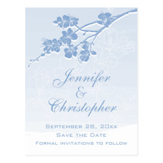 Blue Watercolor Ombre Spring Blossom Save the Date Postcard