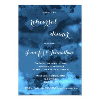 Blue watercolor rehearsal dinner invitations