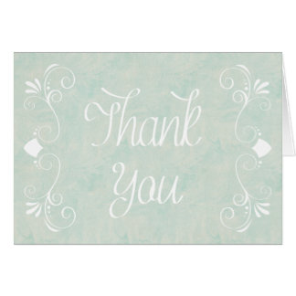 Blue Watercolor Thank You Floral Note Card