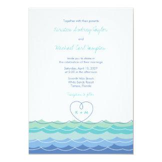Blue Waves Modern Loopy Heart Beach Wedding Invite