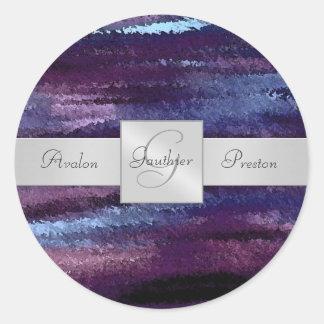 Blue Waves Monogram Wedding Sticker