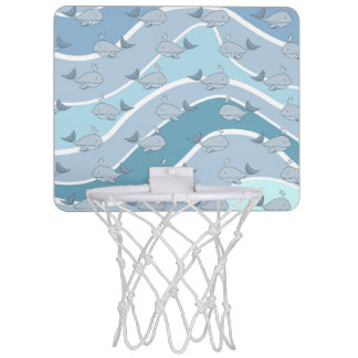 Blue Waves, Whale Seamless Pattern Mini Basketball Hoop