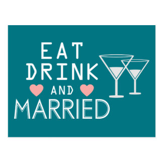 Blue Wedding Just Married Eat, Drink Married Postcard