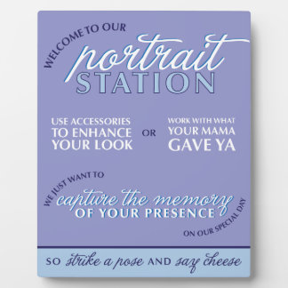 Blue Wedding Photo Booth Sign Display Plaque
