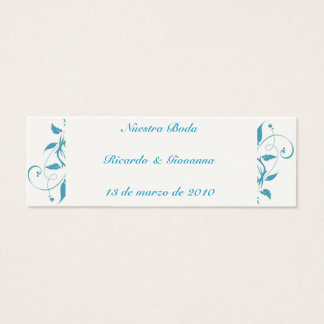 Blue Wedding Scroll Flourish, Blue Wedding Scro... Mini Business Card