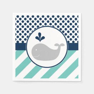 Blue Whale Baby Shower Napkins Disposable Serviettes