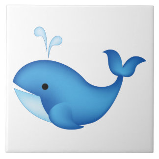 Blue whale large square tile