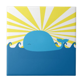 Blue Whale Small Square Tile