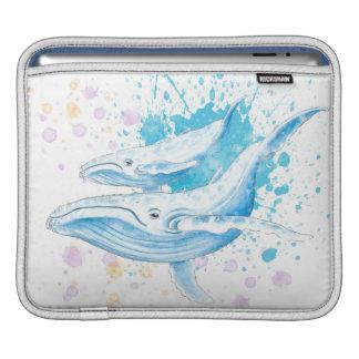 Blue Whales Color Splash iPad Sleeve