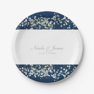 Blue & White Babys Breath Floral Wedding Plates 7 Inch Paper Plate
