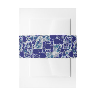 Blue White Bling Invitation Belly Band