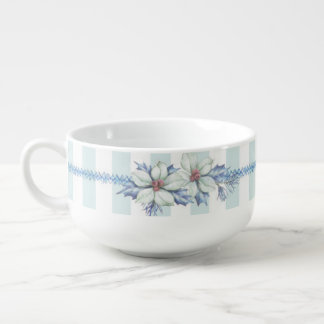 Blue & White Christmas Soup Cup Soup Bowl With Handle