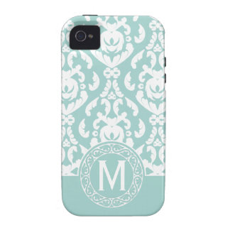 Blue White Damask Monogram iPhone 4/4S Cover