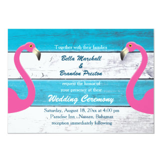 Blue & White Flamingo Wedding Invitation