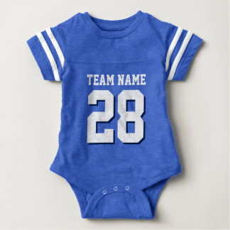 Blue White Football Jersey Sports Baby Romper Baby Bodysuit