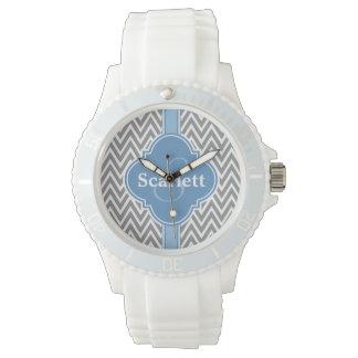 Blue White Gray Chevron Pattern and Monogram Watch