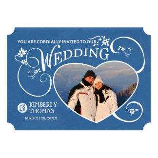 Blue & White Heart Photo Wedding Invitation