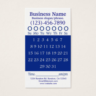 Blue white hole punch appointment card