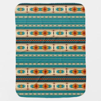 Blue, White & Orange Native American Pattern Baby Blanket