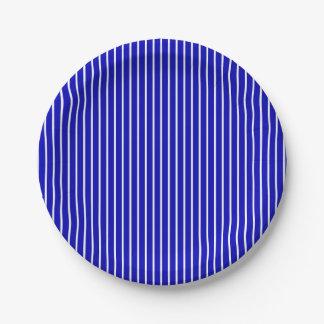 Blue White Pinstripe 7 Inch Paper Plate