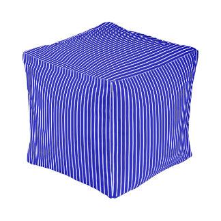 Blue White Pinstripe Cube Pouffe