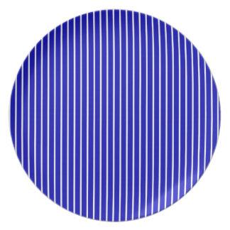 Blue White Pinstripe Party Plates