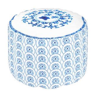 Blue White Pouf