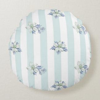 Blue & White Round Christmas Throw Pillow