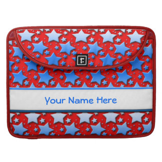 Blue White Stars on Red Sleeve For MacBook Pro