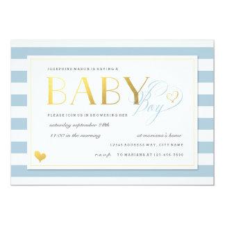 Blue & White Stripe Baby Boy Shower Gold Accents Card