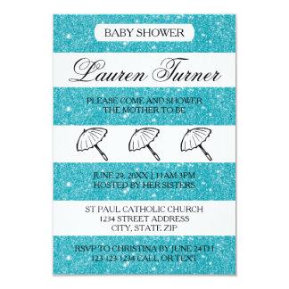 Blue & White Stripes - 3x5 Baby Shower Invitation