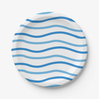 Blue & White Stripes Wedding Party, Bridal Shower Paper Plate