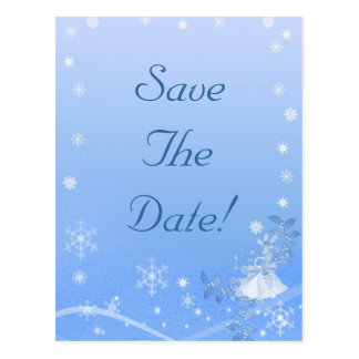 Blue & White Winter Save The Date Wedding Postcard