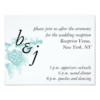 Blue White Winter Wedding Reception Card