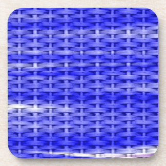 Blue wicker retro graphic design coaster