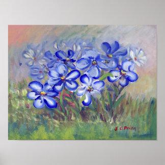 Blue Wildflowers in a Field Fine Art Painting Print