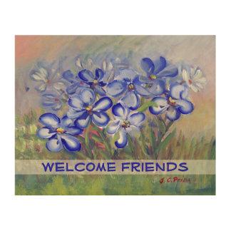 Blue Wildflowers in a Field Fine Art Painting Wood Print