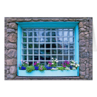 Blue Window Box With Flowers Photograph Card