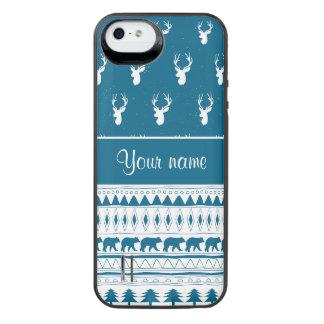 Blue Winter Deer Tribal Aztec Pattern iPhone SE/5/5s Battery Case