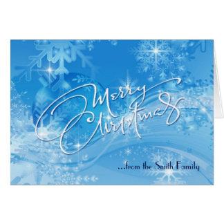 Blue Winter Merry Christmas Card