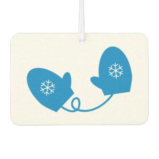 Blue Winter Mittens Snowflake Car Air Freshener