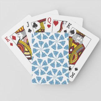 Blue Winter Snowflake Pattern Pinwheel Playing Cards