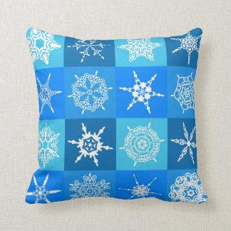 Blue Winter Snowflake Pattern Throw Pillow