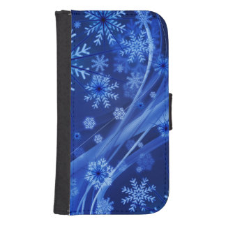 Blue Winter Snowflakes Christmas Samsung S4 Wallet Case