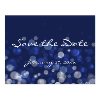 Blue Winter Themed Wedding Save The Date Postcards