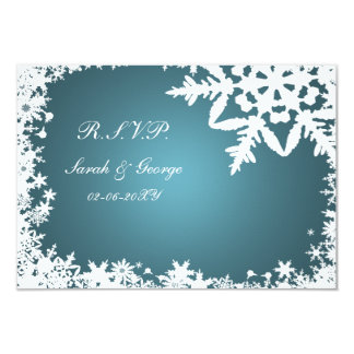 blue winter wedding rsvp standard 3.5 x 5 card