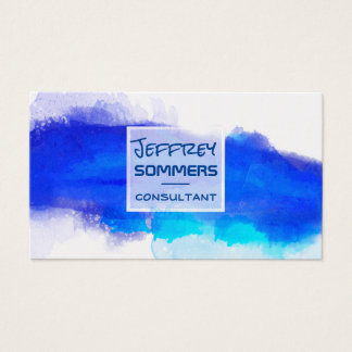 Blue  Wishy Washy Watercolor Artist Visiting Business Card